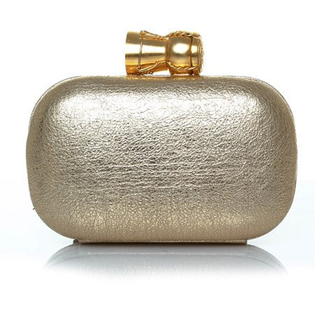 Champagne Gold Leather Box Clutch