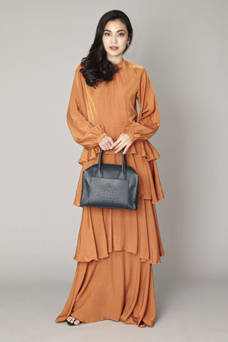 Orange Ruffled Maxi Dress