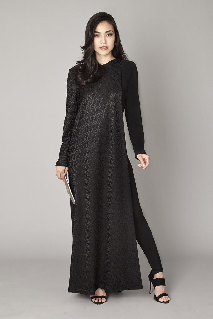 Black One Sleeve Abaya and Jumpsuit - Haute Elan