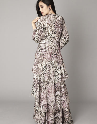 Leopard Print Maxi Dress (Slightly Pink) - Haute Elan