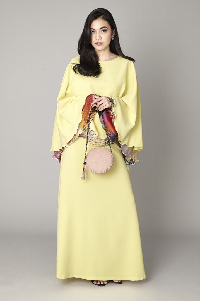Yellow Cape Dress - Haute Elan