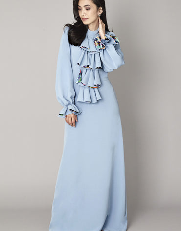 Pastel Blue Ruffled Maxi Dress - Haute Elan