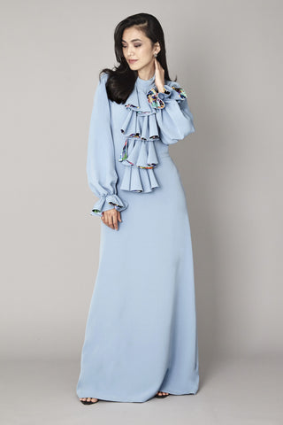 Pastel Blue Ruffled Maxi Dress