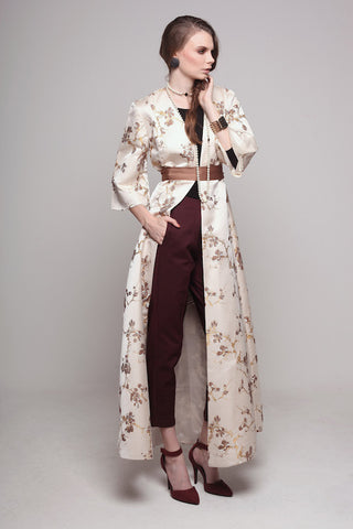 Brocade Structured Cream Abaya