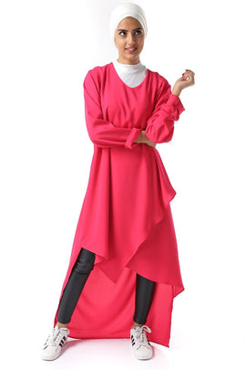 Uneven Hem Long Tunic - Fuschia