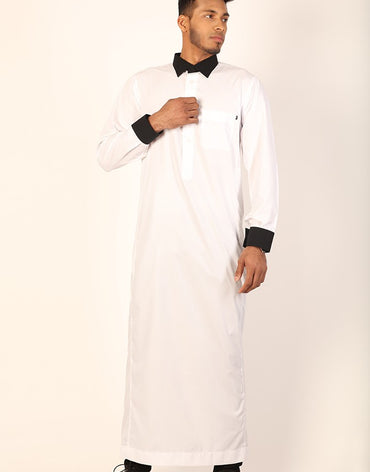 White Jubbah Black Collar - Haute Elan