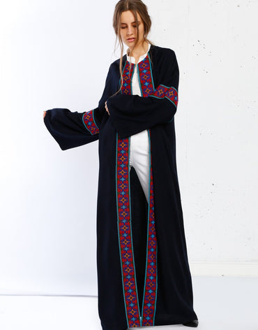Red Embroidery Abaya