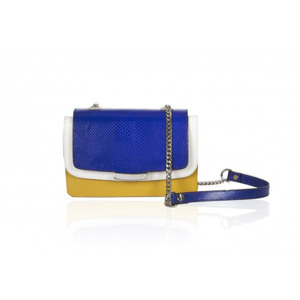 Electric Blue & Mustard Mini Jackie O Shoulder Bag - Haute Elan