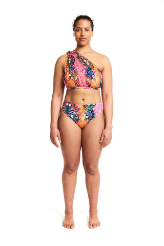 Knotted bandeau swim top