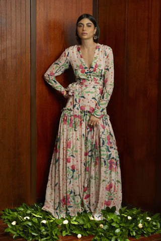 Alli Multi Printed Long Maxi Gown for spring & summer weddings