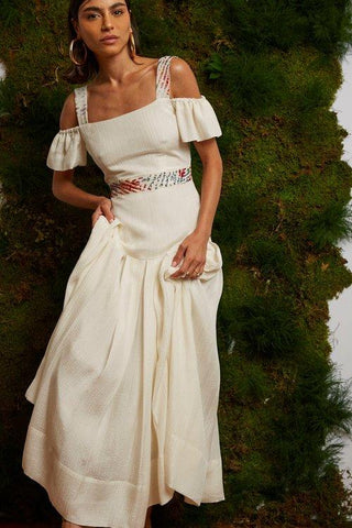 Abib Midi Hand Embroidered Pleated Dress for spring and summer weddings