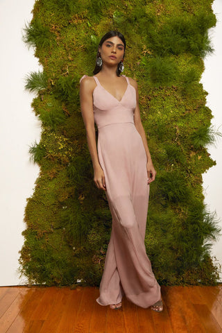 Rose Pink Silk Jumpsuit for spring and summer weddings