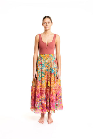 Tiered cover-up skirt
