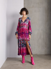Load image into Gallery viewer, Snake carnation velvet midi dress