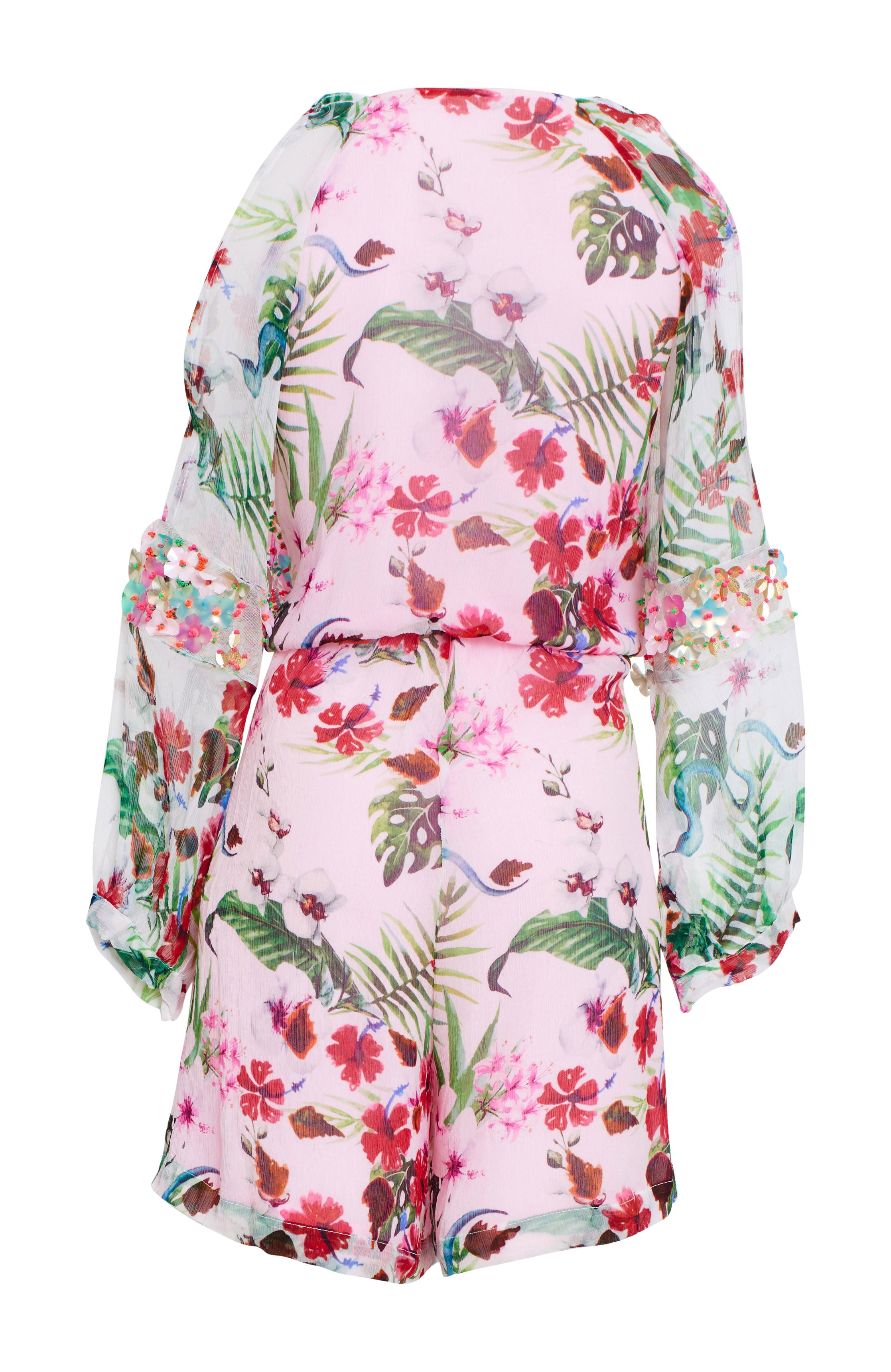 Embroidered printed play suit