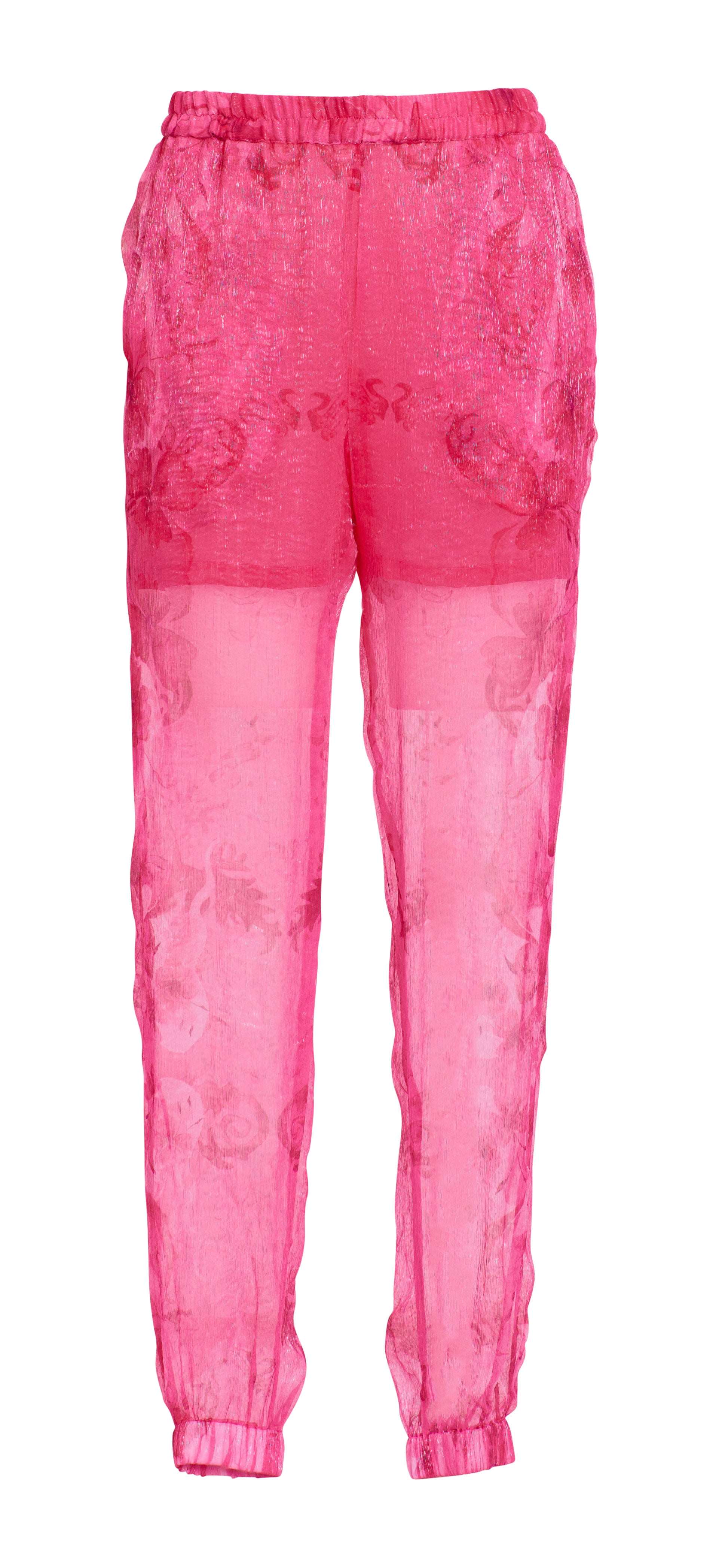 Silk chiffon printed pants
