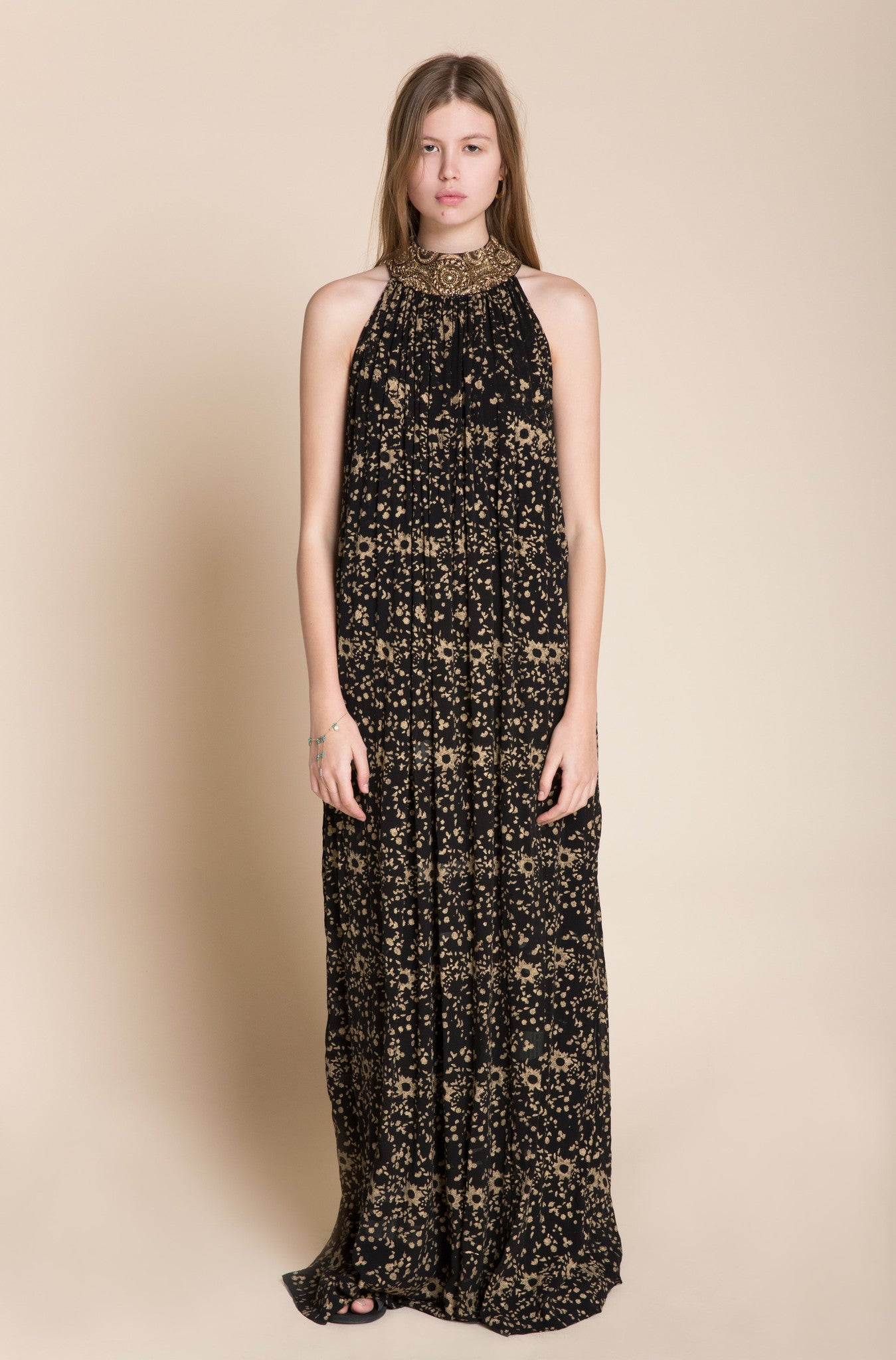 Embroidered Maxi Print Dress