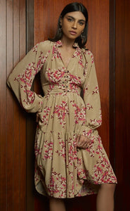 Spring flower knee length silk dress