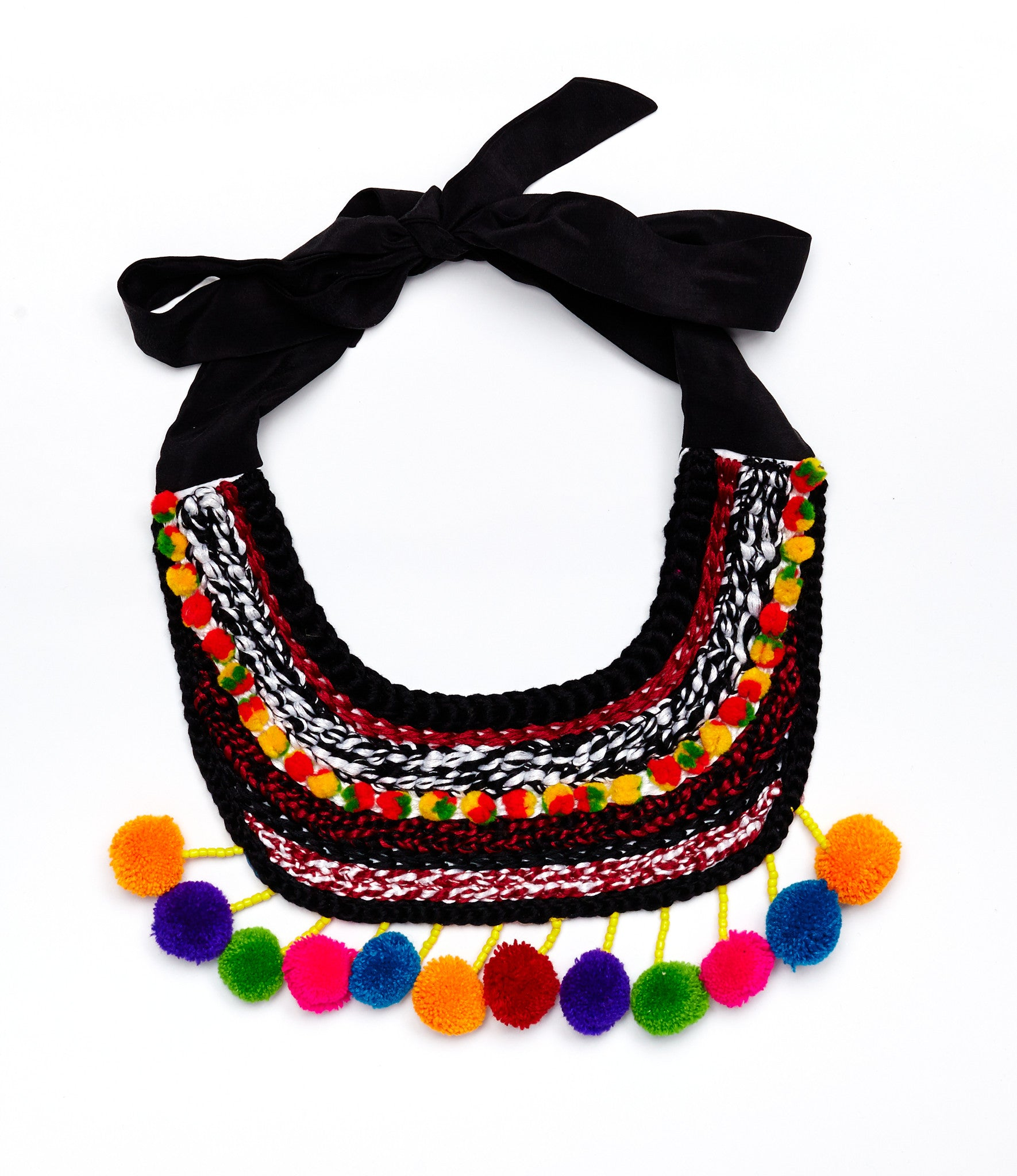 Pom-pom Embroidered Necklace