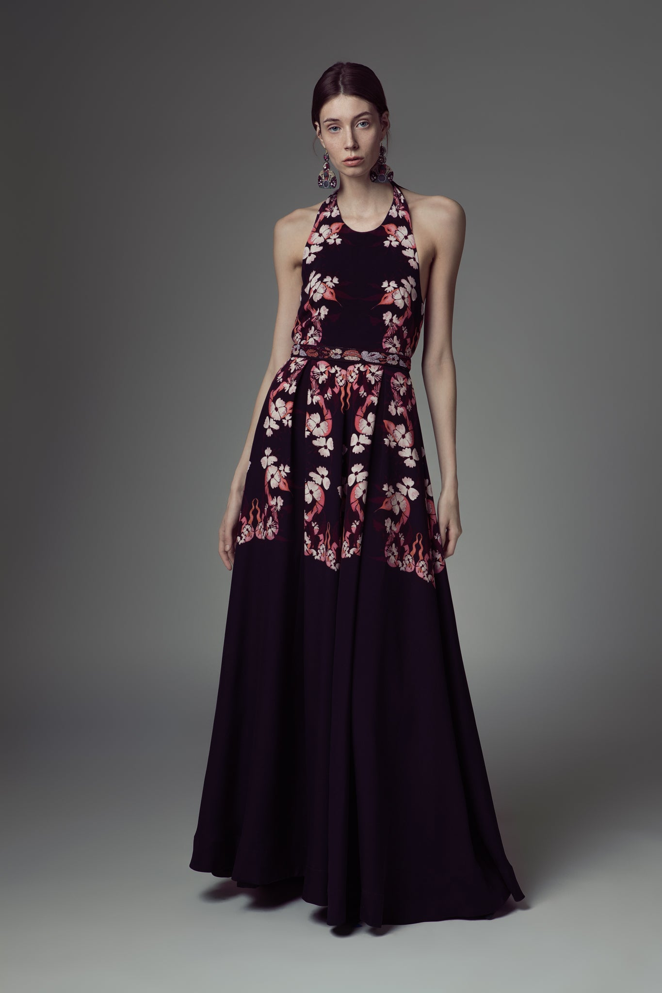 Printed Crepe Halter Neck Gown