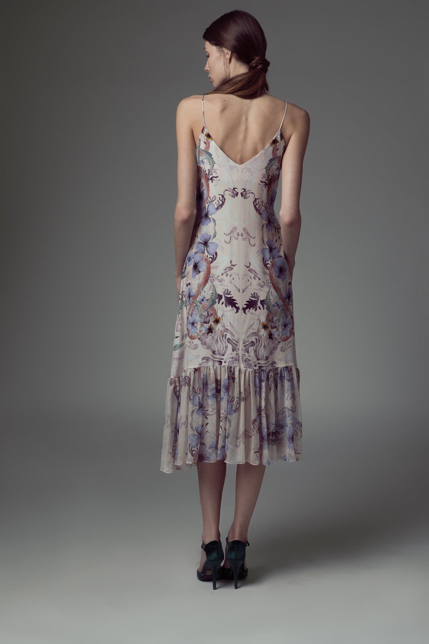 Embroidered & printed silk dress
