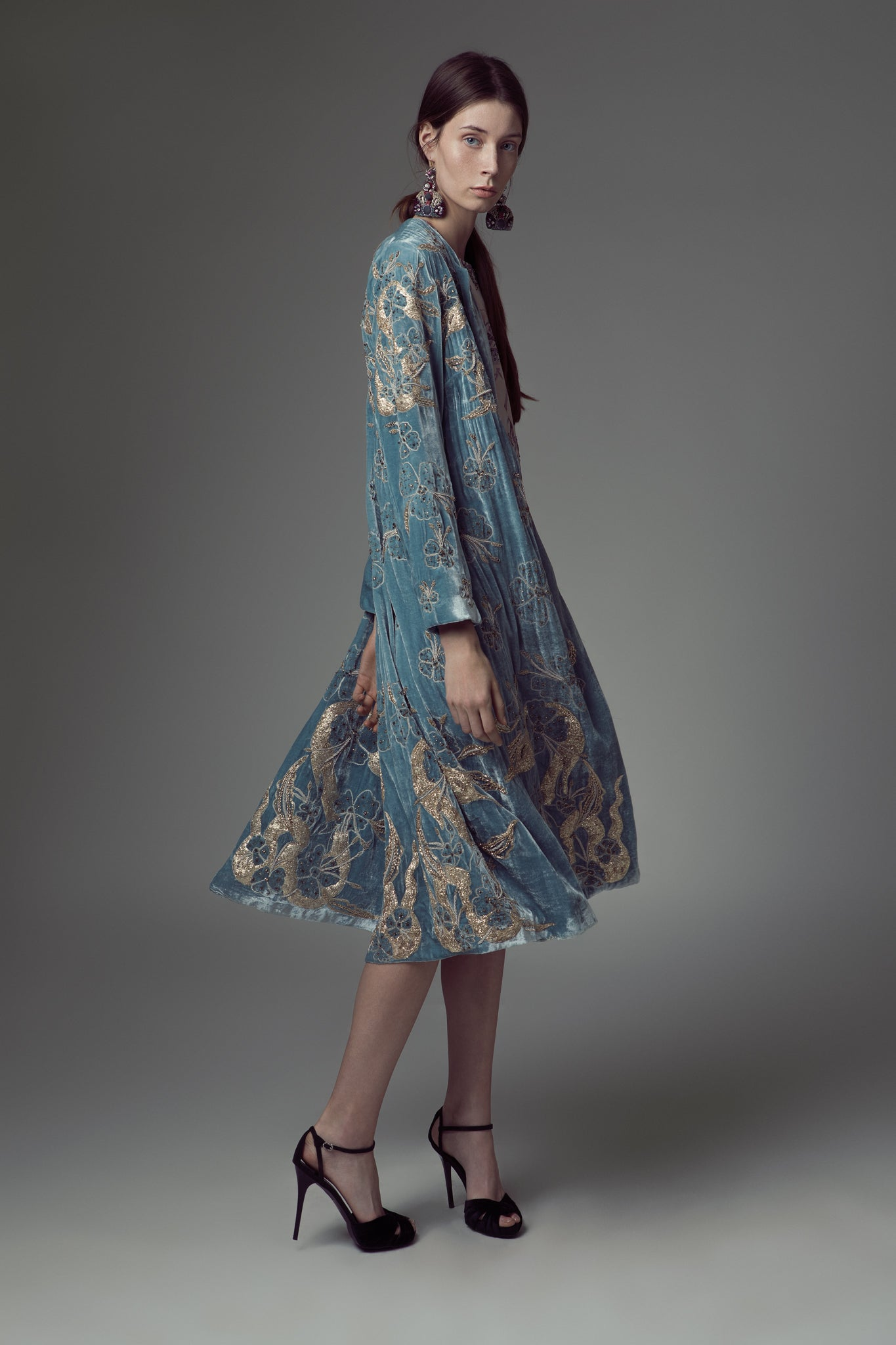 Velvet gold embroidered coat
