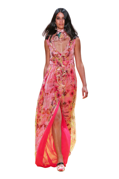 Front open printed silk maxi dress