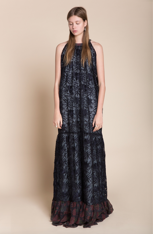 Floral Lace Embroidered Maxi Dress