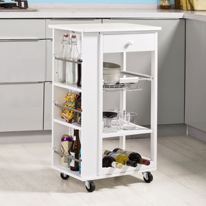 SoBuy Kitchen Trolley Cart with Side Shelves Removable Basket,FKW12-W, White