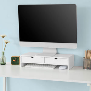 SoBuy Monitor Stand Computer Screen Monitor Stand Monitor Riser Desk Organizer 2 Drawers White,BBF02-W