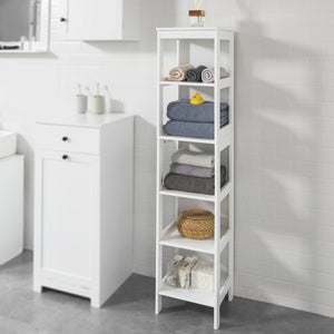 SoBuy White 5 Tiers Bathroom Shelf  Storage Shelf Cabinet Unit,BZR14-W