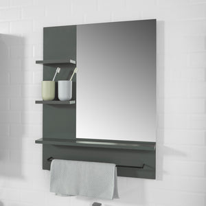 SoBuy Wall Mounted Bathroom Mirror with Storage Shelves and Towel Rail, BZR23-DG