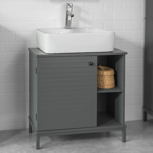 SoBuy Under Sink Bathroom Storage Cabinet with One Door and 2 Shelves,BZR24-DG,