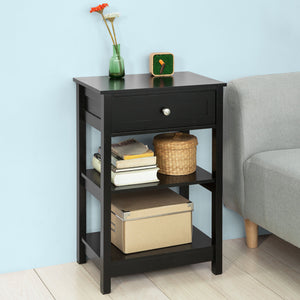 SoBuy Beside End Table with Drawers Black,FBT46-SCH