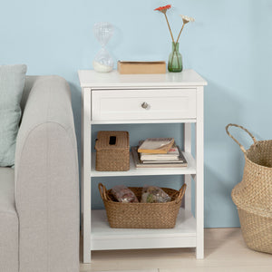 SoBuy Beside End Table with Drawers White,FBT46-W