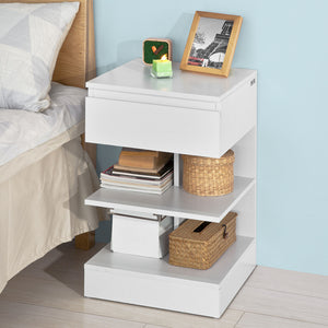 SoBuy Home Wood Bedside End Table with Drawer & Storage Shelves White,FBT49-W