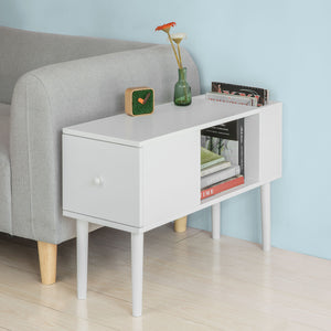 SoBuy White Sofa Side Table with Drawer & Magazine Storage Space,FBT60-W