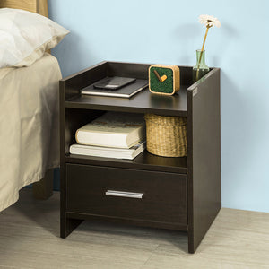 SoBuy®  Brown Wood Side End Table with Drawer, FBT66-BR