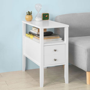 SoBuy White Wood Coffee End Table Bed Sofa Side Table with 1 Drawer FBT73-W