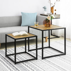 SoBuy Nesting Tables, Set of 2 Coffee Tables Side Tables End Tables Living Room Tables,FBT76-N,