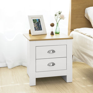 SoBuy® 2 Drawers Bedside Table Night Table Stand Lamp Table End Table Side Table, FBT86-W