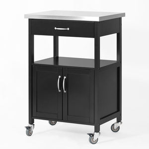 SoBuy Kitchen Trolley with Stainless Steel Top, FKW22-SCH,UK