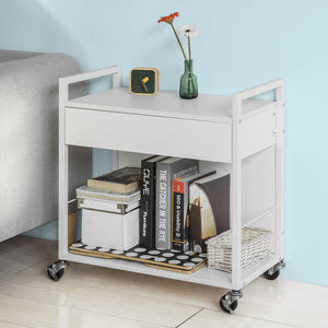 SoBuy Wood Kitchen Serving Trolley Storage Cart with Drawer White,FKW50-W