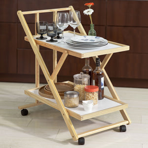 SoBuy Foldable Wood 2 Shelves Kitchen Serving Trolley Cart on Wheels,FKW52-WN