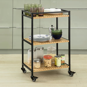 SoBuy 3 Tiers Metal Bamboo Drinks Serving Trolley Kitchen Shelf FKW65-N