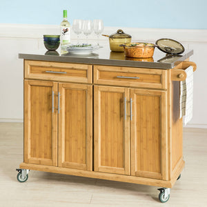 SoBuy®Extendable Worktop Kitchen Trolley Island Storage Cupboard, FKW69-N