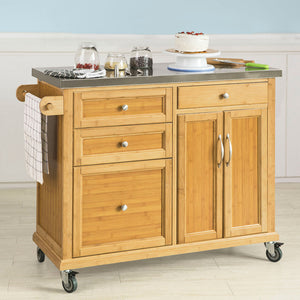 SoBuy®Stainless Worktop Kitchen Trolley Island Storage Cupboard, FKW70-N