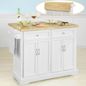 SoBuy Extendable Kitchen Trolley Island Storage Cupboard White,FKW71-WN