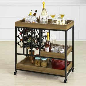 SoBuy Kitchen Trolley Kitchen Serving Trolley Kitchen Storage Trolley Wine Rack,FKW86-N