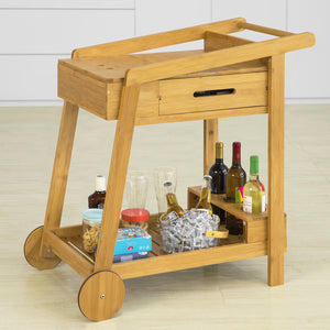 SoBuy Bamboo Home Kitchen Trolley 2 Tiers Serving Trolley with Drawer and Wine Rack,FKW89-N